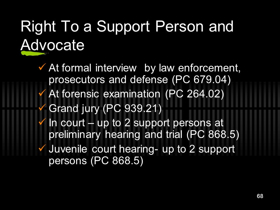 Right To a Support Person and Advocate