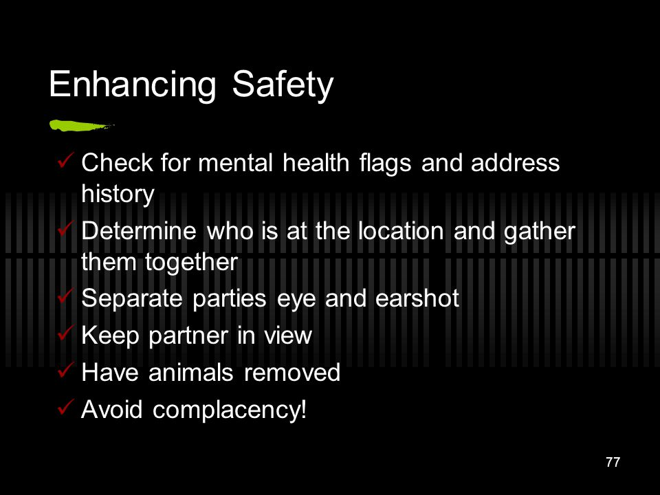 Enhancing Safety Check for mental health flags and address history