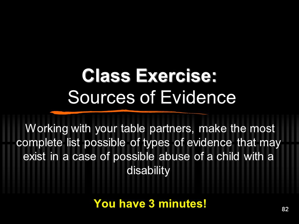 Class Exercise: Sources of Evidence