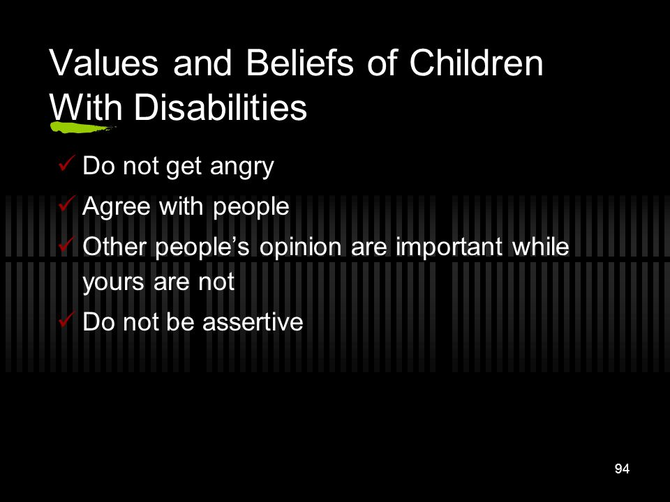 Values and Beliefs of Children With Disabilities