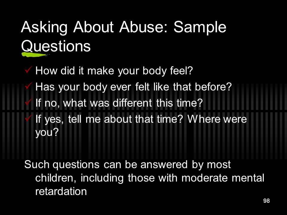 Asking About Abuse: Sample Questions