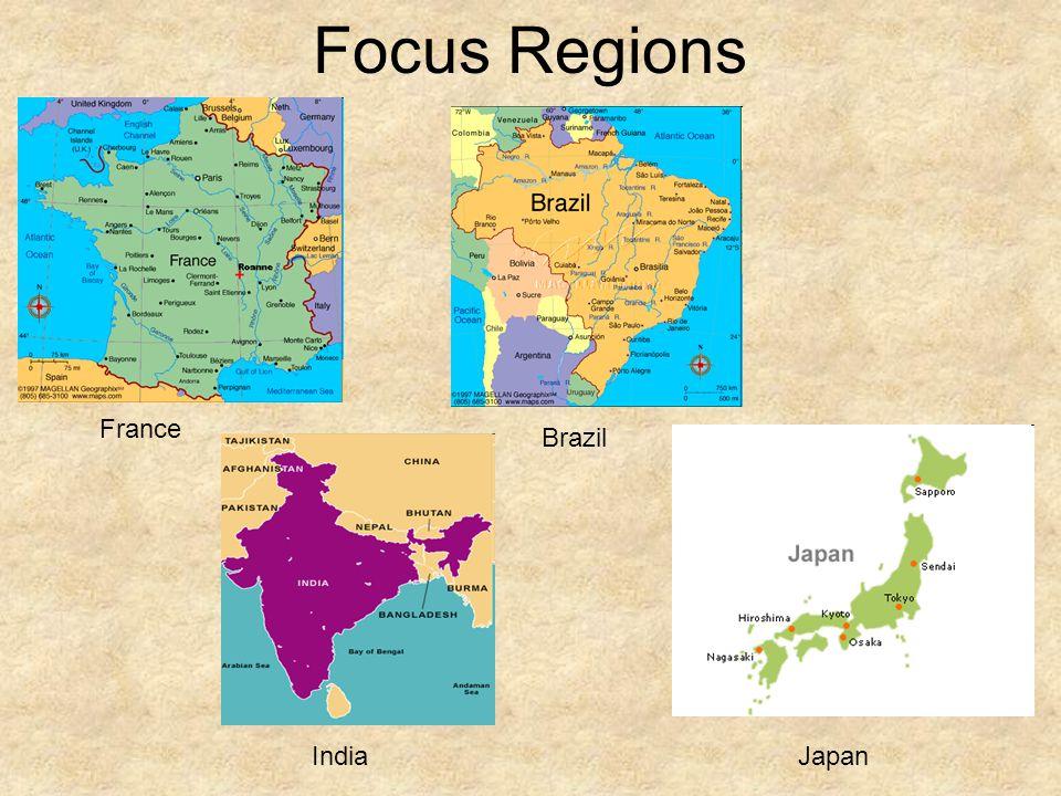 Focus Regions France Brazil India Japan