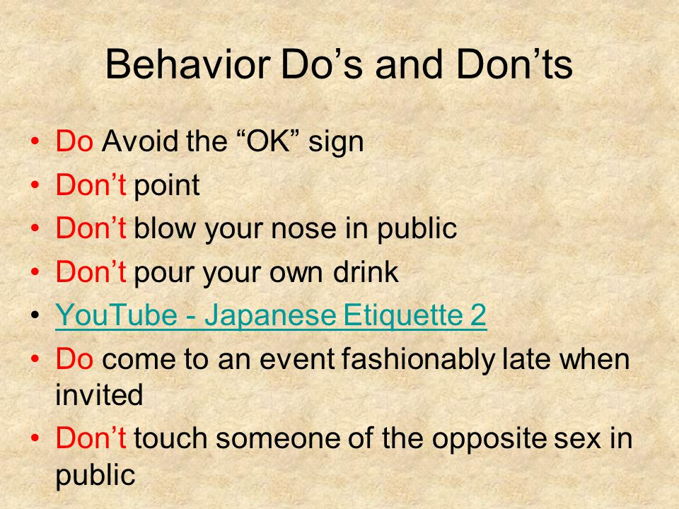 Behavior Do's and Don'ts