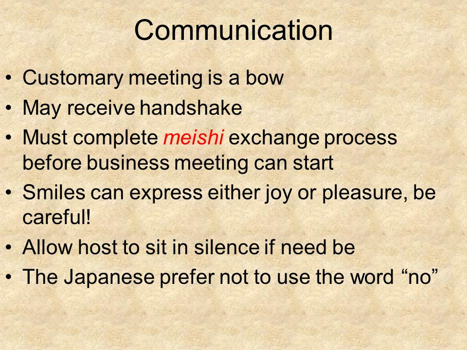 Communication Customary meeting is a bow May receive handshake