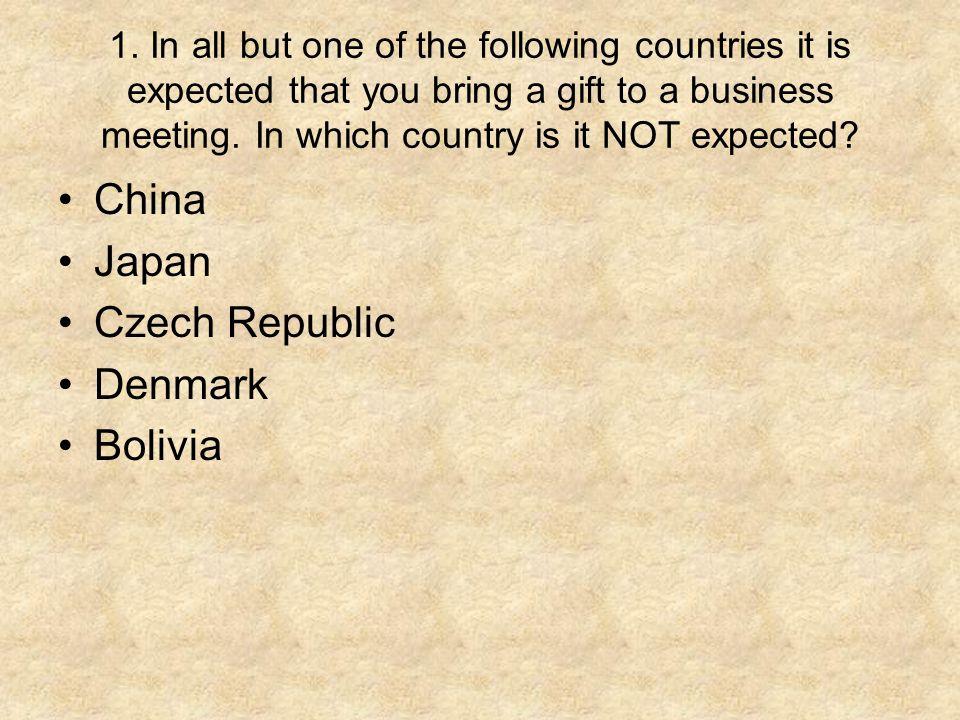 China Japan Czech Republic Denmark Bolivia