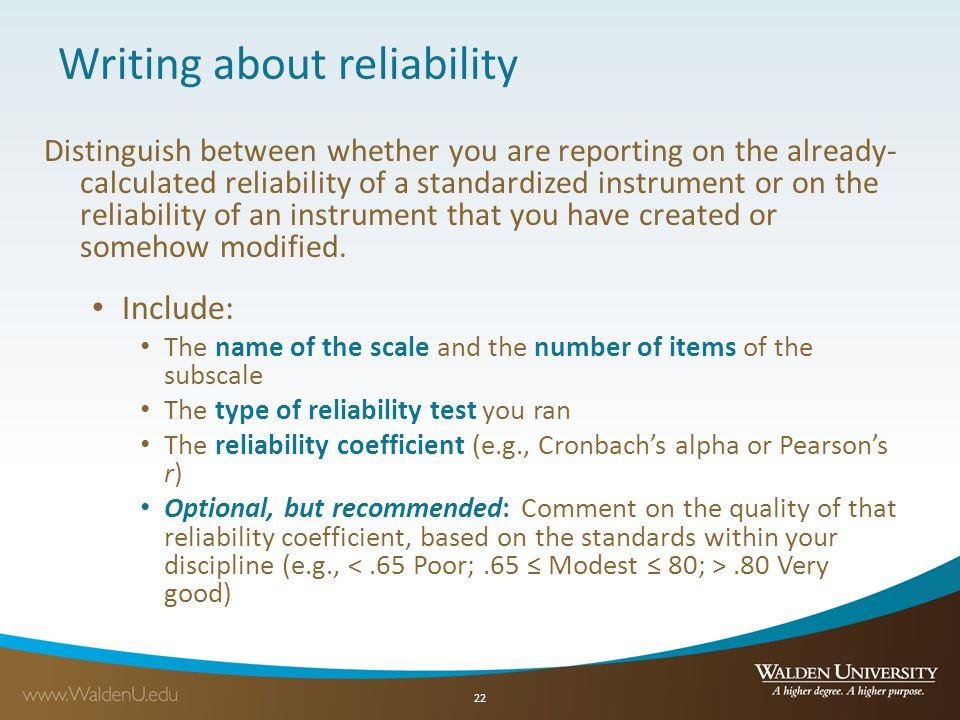 Writing about reliability