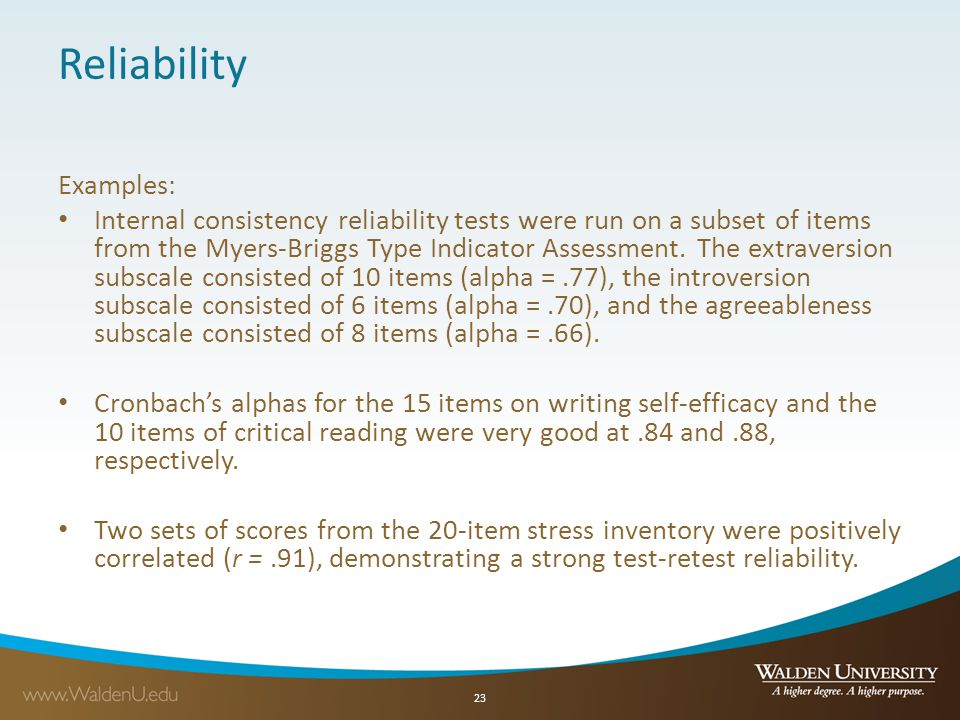 Reliability Examples: