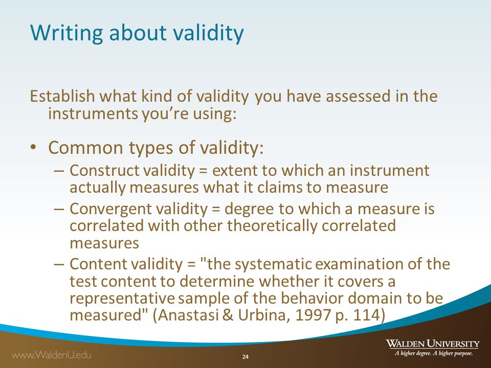 Writing about validity