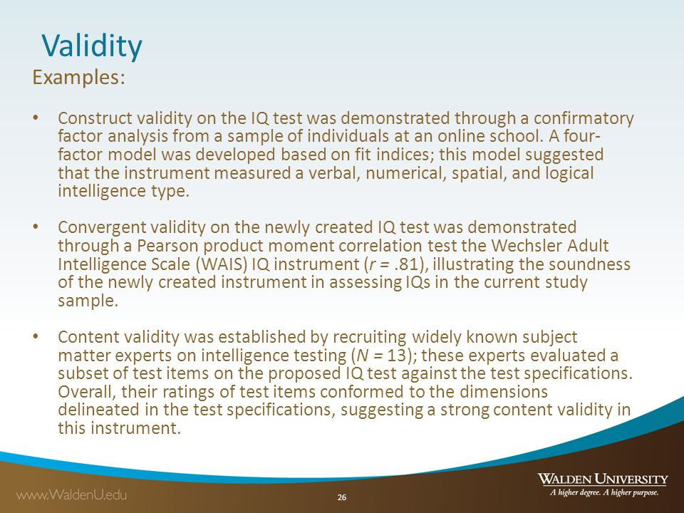 Validity Examples: