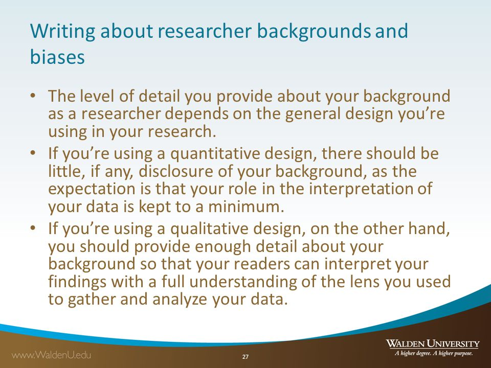 Writing about researcher backgrounds and biases