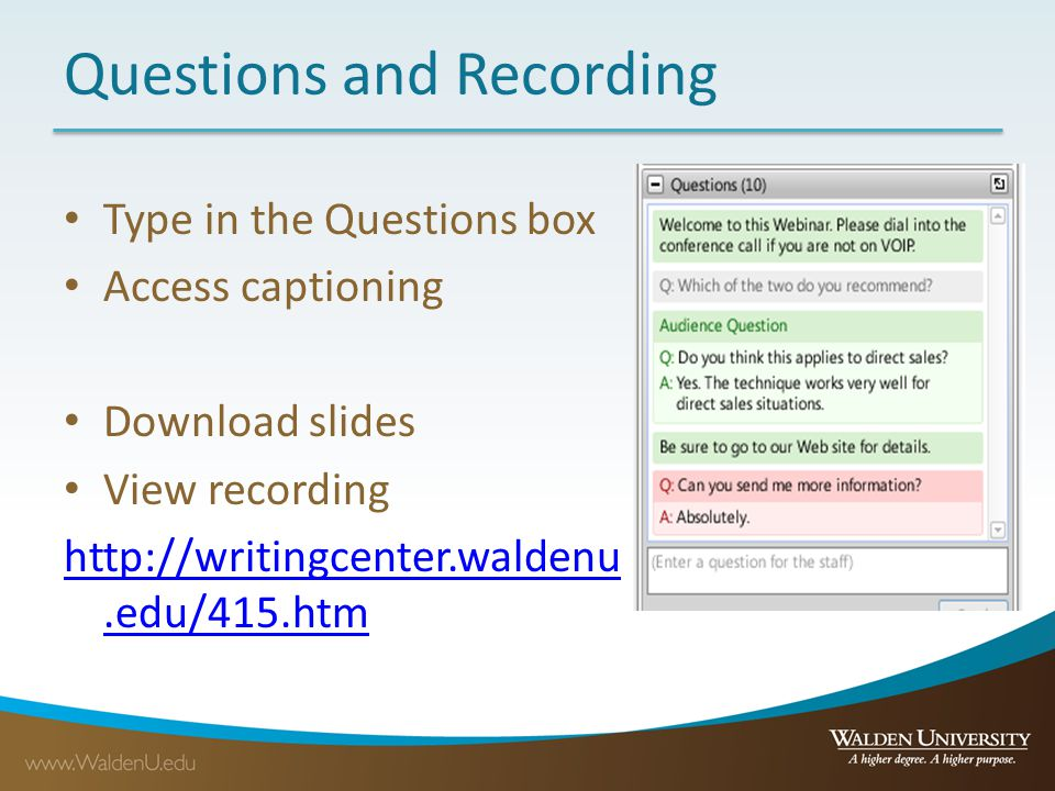 Questions and Recording