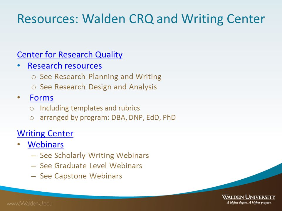 Resources: Walden CRQ and Writing Center