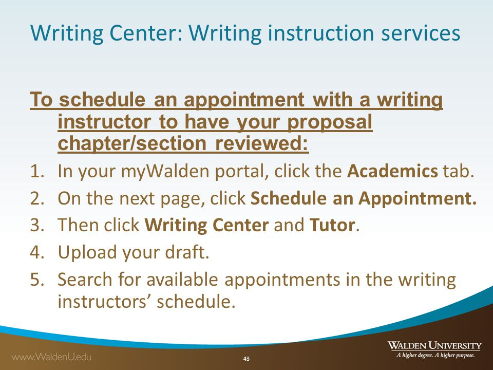 Writing Center: Writing instruction services