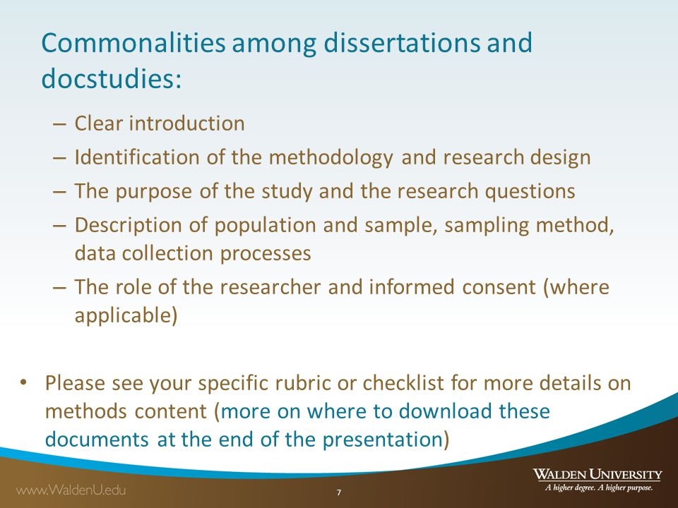 Commonalities among dissertations and docstudies: