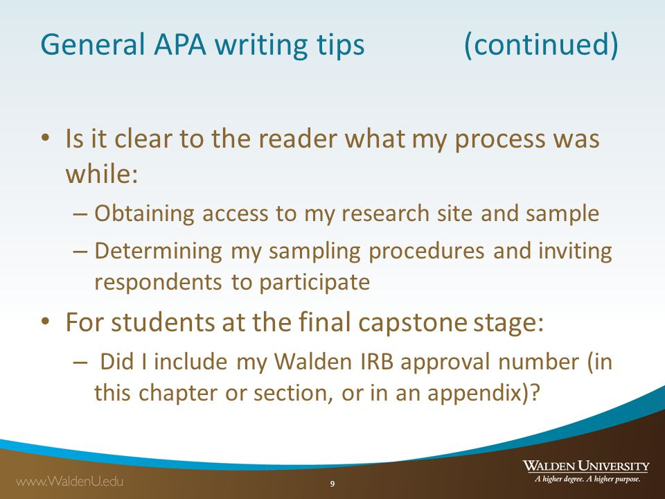 General APA writing tips (continued)