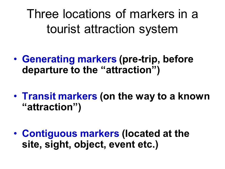 Three locations of markers in a tourist attraction system