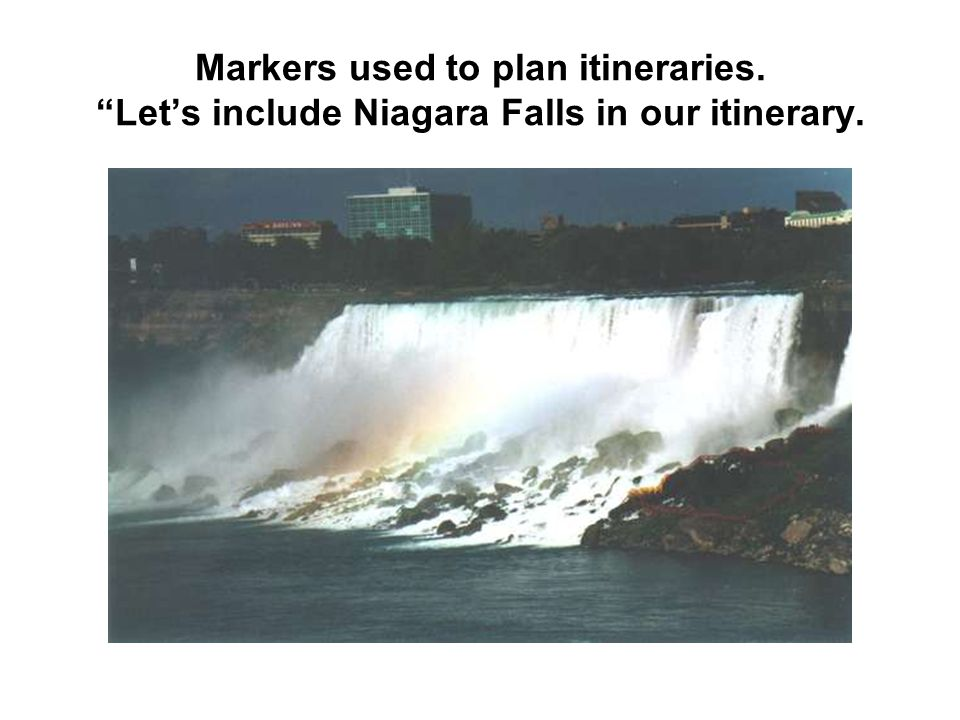 Markers used to plan itineraries