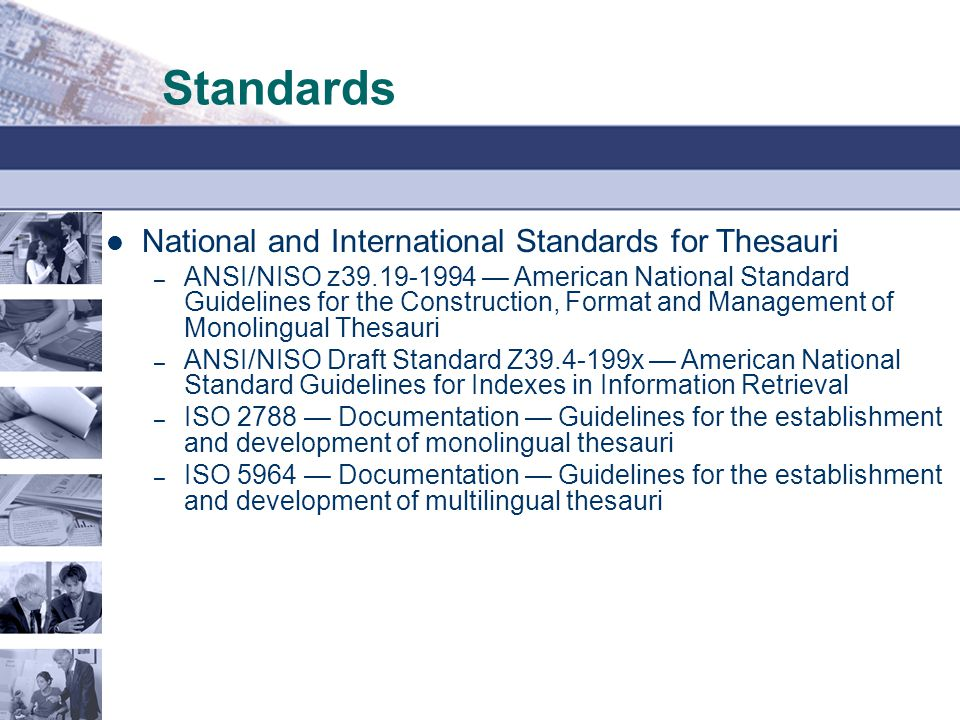 Standards National and International Standards for Thesauri