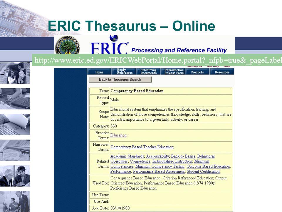 ERIC Thesaurus – Online