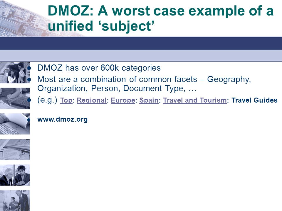 DMOZ: A worst case example of a unified 'subject'