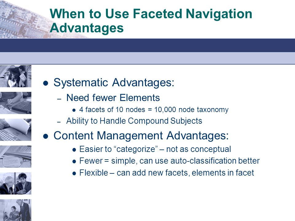 When to Use Faceted Navigation Advantages