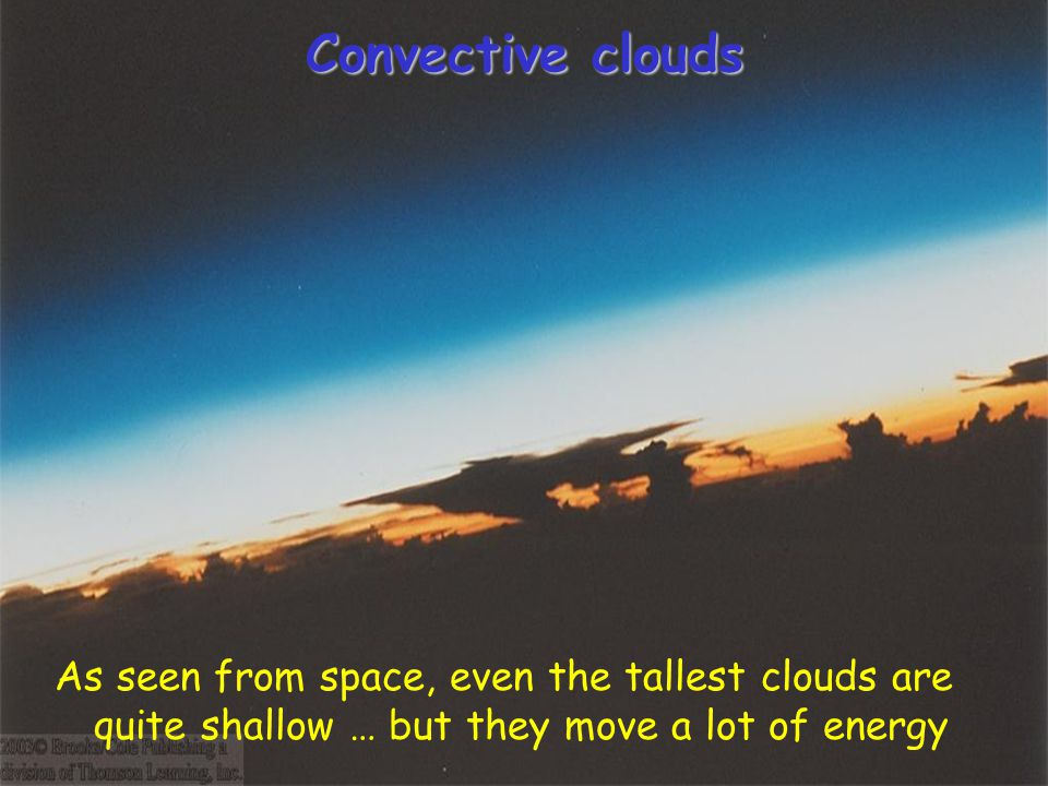 Convective clouds As seen from space, even the tallest clouds are quite shallow … but they move a lot of energy.