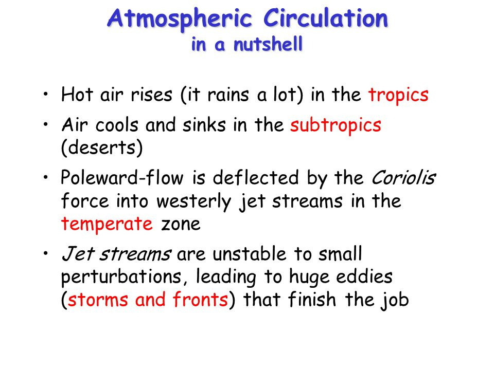 Atmospheric Circulation in a nutshell