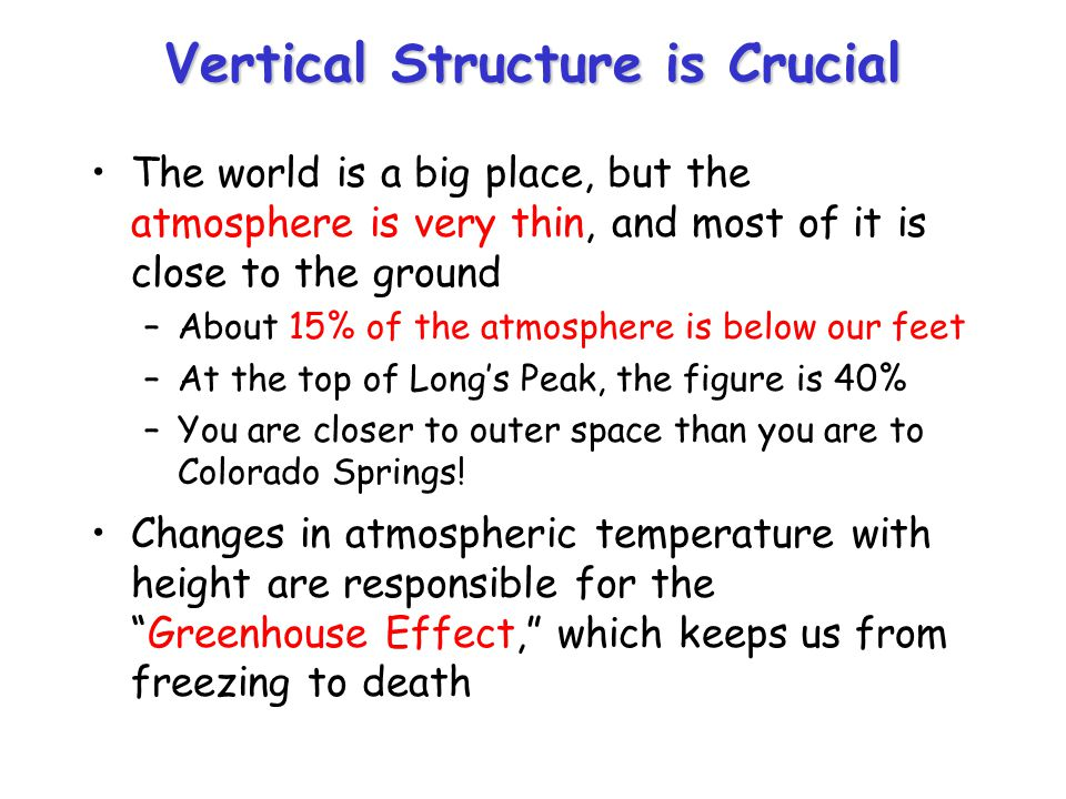 Vertical Structure is Crucial