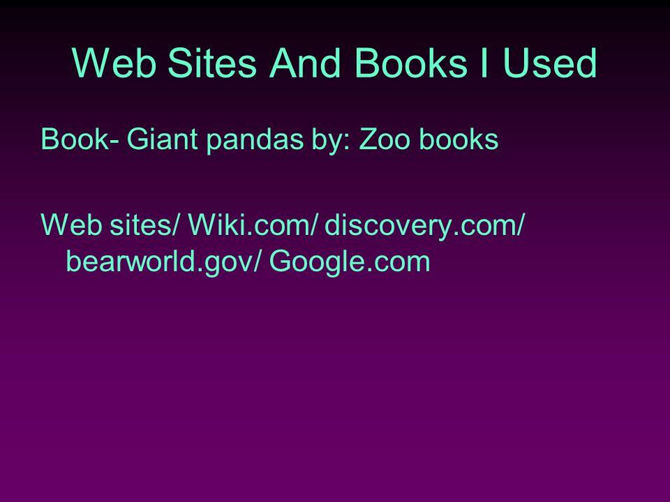 Web Sites And Books I Used