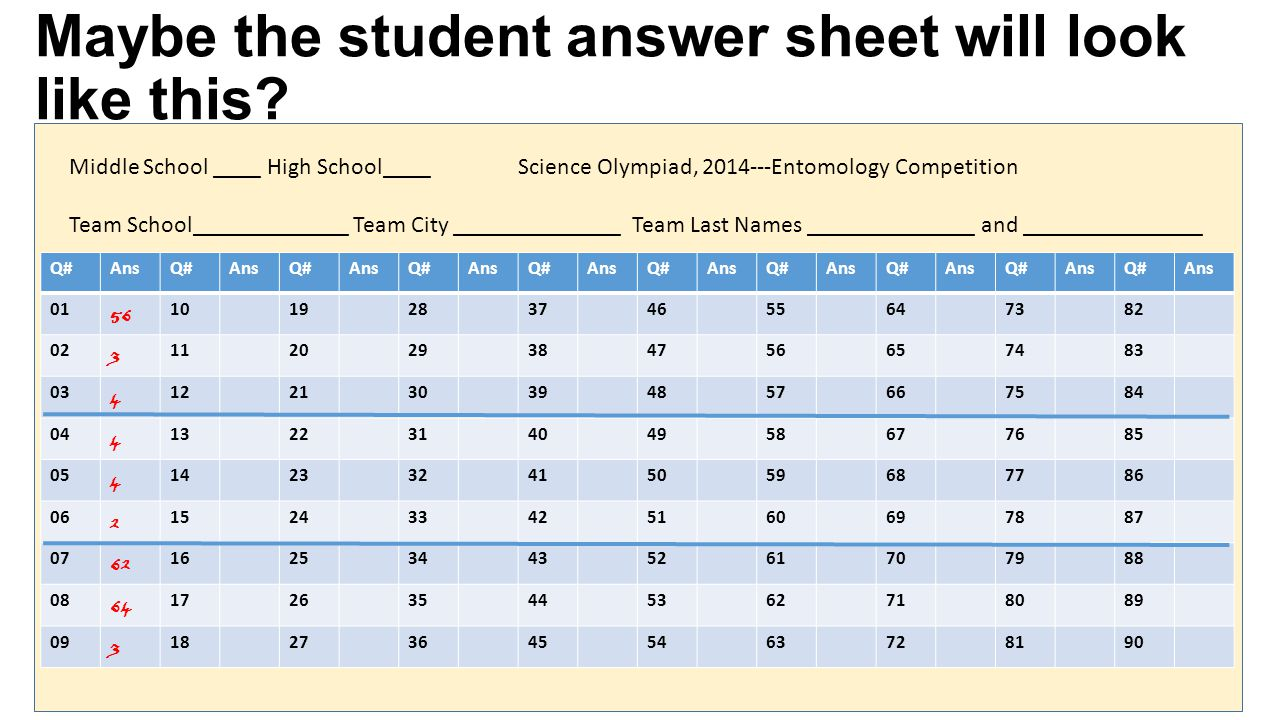 Maybe the student answer sheet will look like this