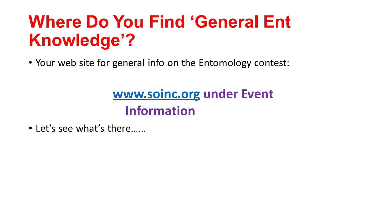 Where Do You Find 'General Ent Knowledge'