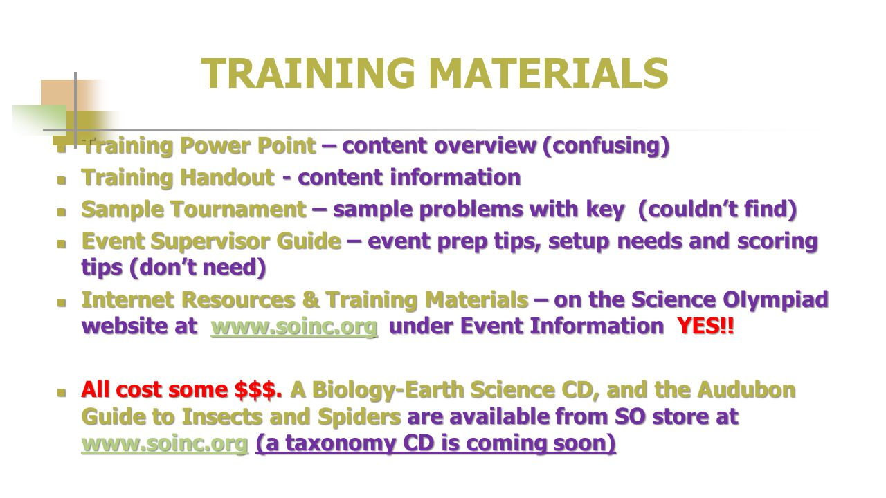TRAINING MATERIALS Training Power Point – content overview (confusing)