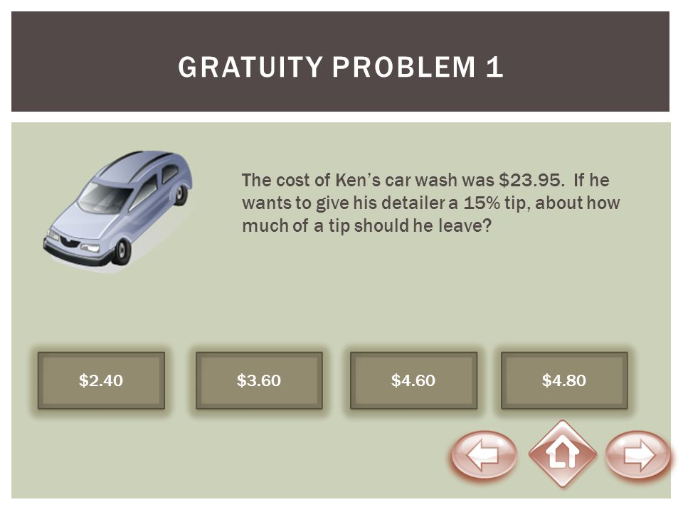 Gratuity Problem 1 The cost of Ken's car wash was $23.95. If he wants to give his detailer a 15% tip, about how much of a tip should he leave