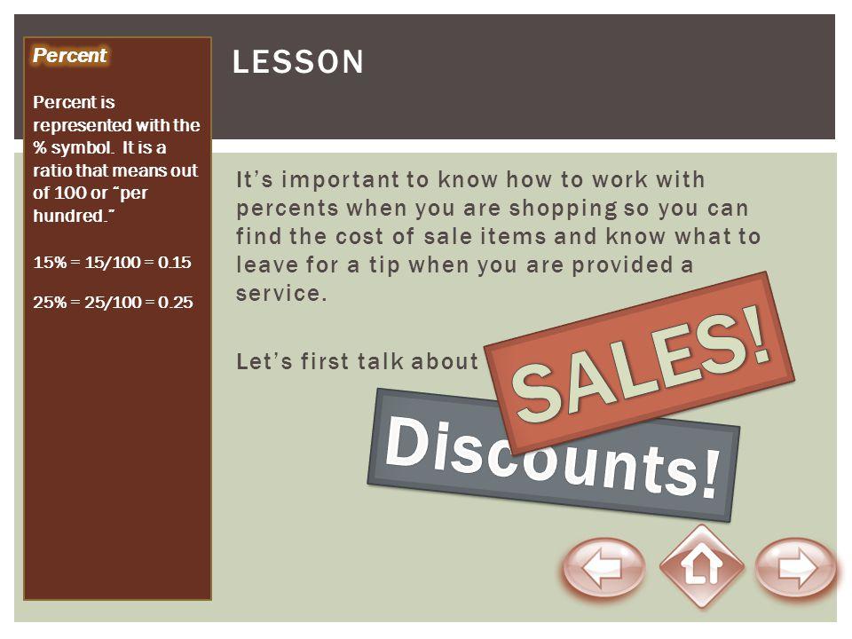 SALES! Discounts! Lesson