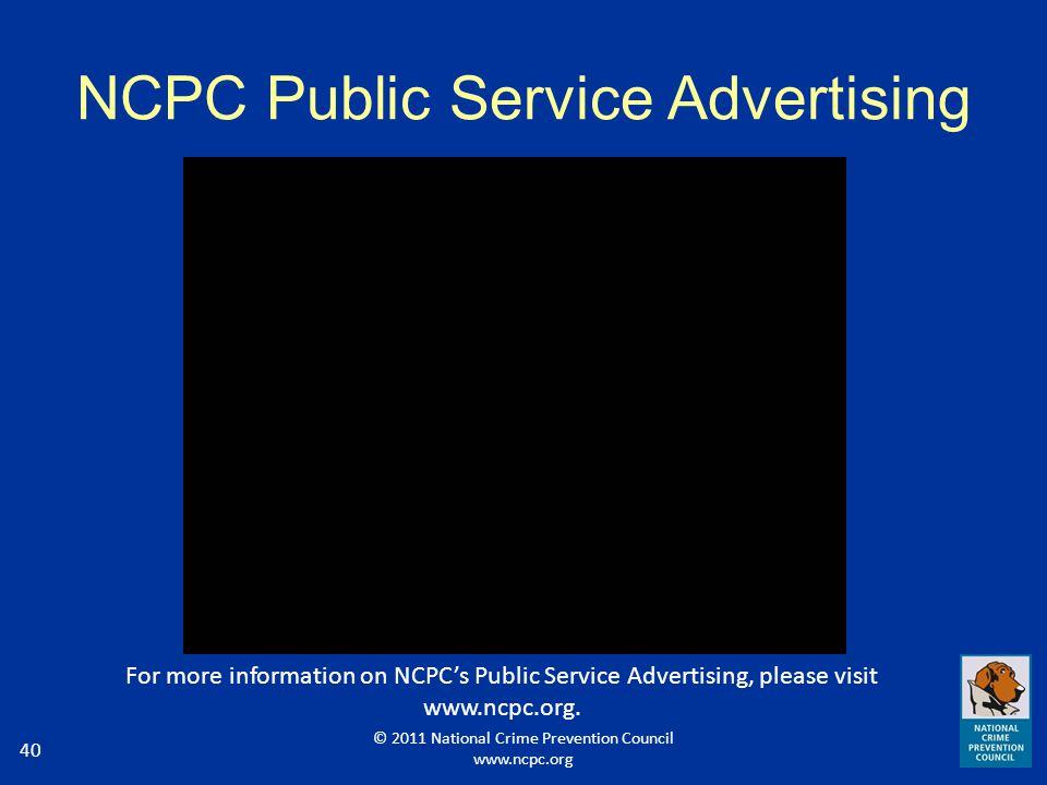 NCPC Public Service Advertising