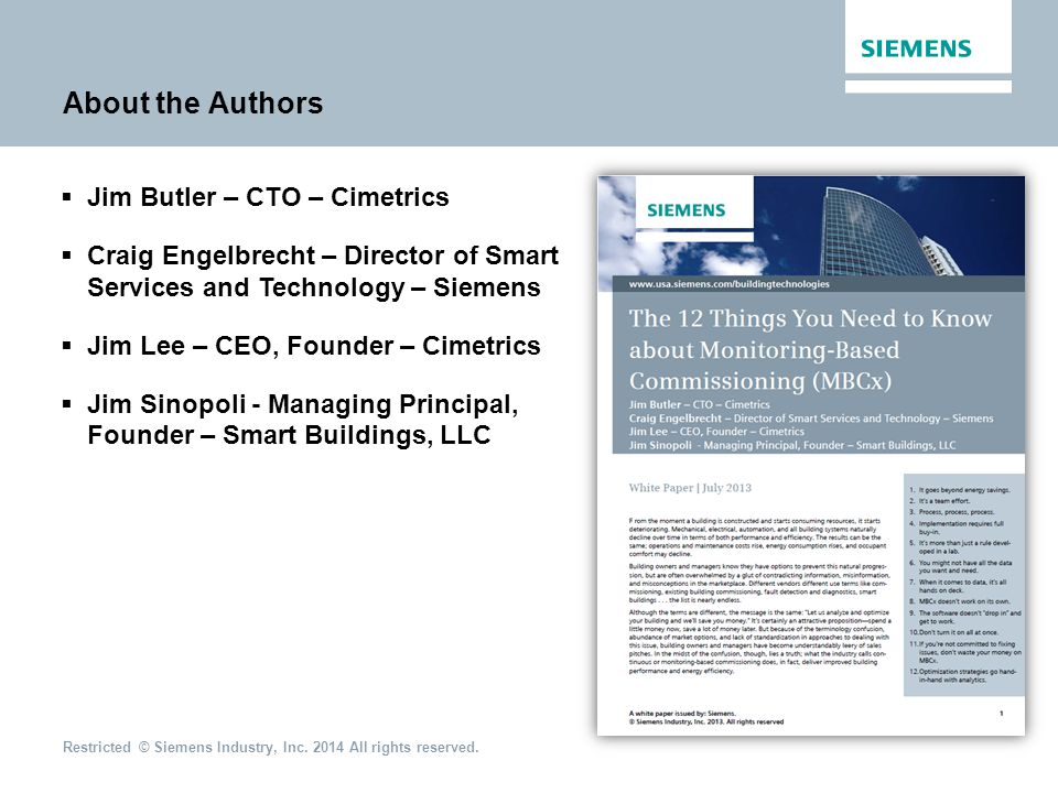 About the Authors Jim Butler – CTO – Cimetrics