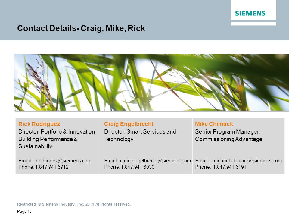 Contact Details- Craig, Mike, Rick