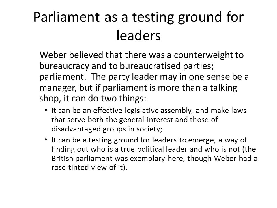 Parliament as a testing ground for leaders