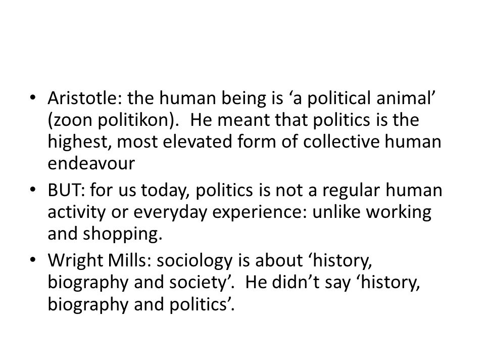 Aristotle: the human being is 'a political animal' (zoon politikon)