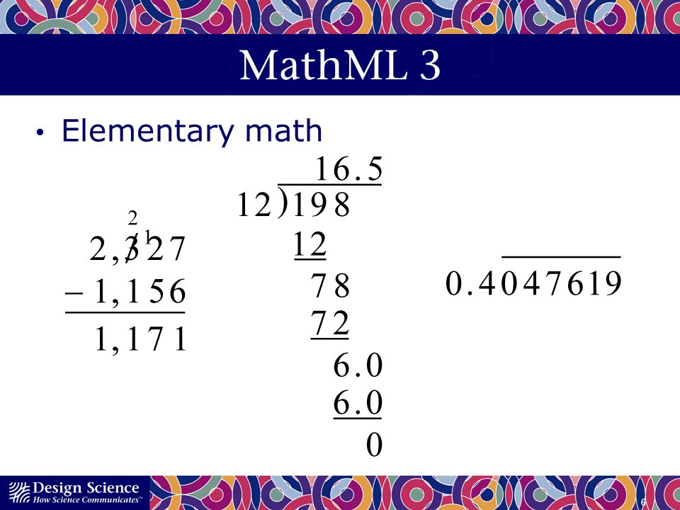 MathML 3 Elementary math