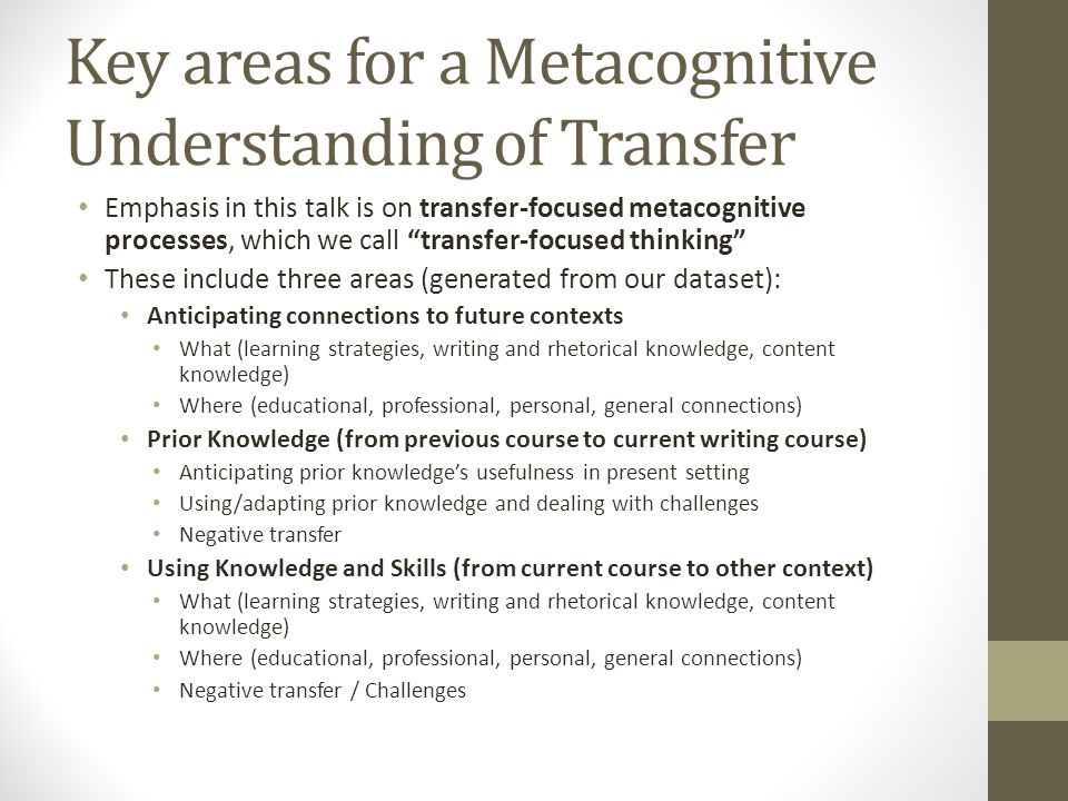 Key areas for a Metacognitive Understanding of Transfer