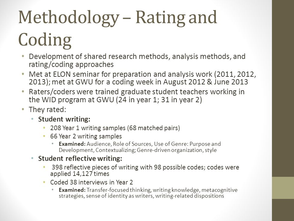 Methodology – Rating and Coding