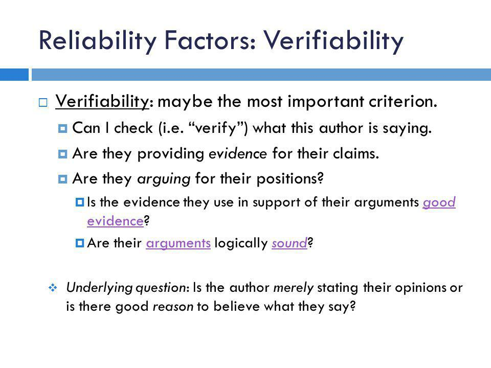 Reliability Factors: Verifiability