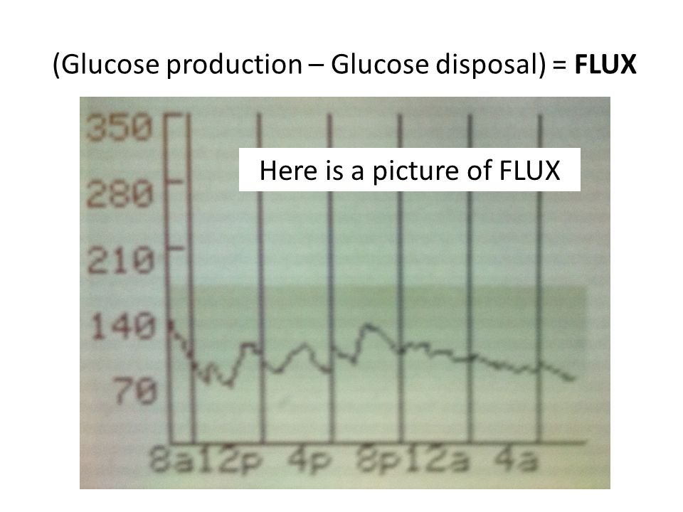 (Glucose production – Glucose disposal) = FLUX