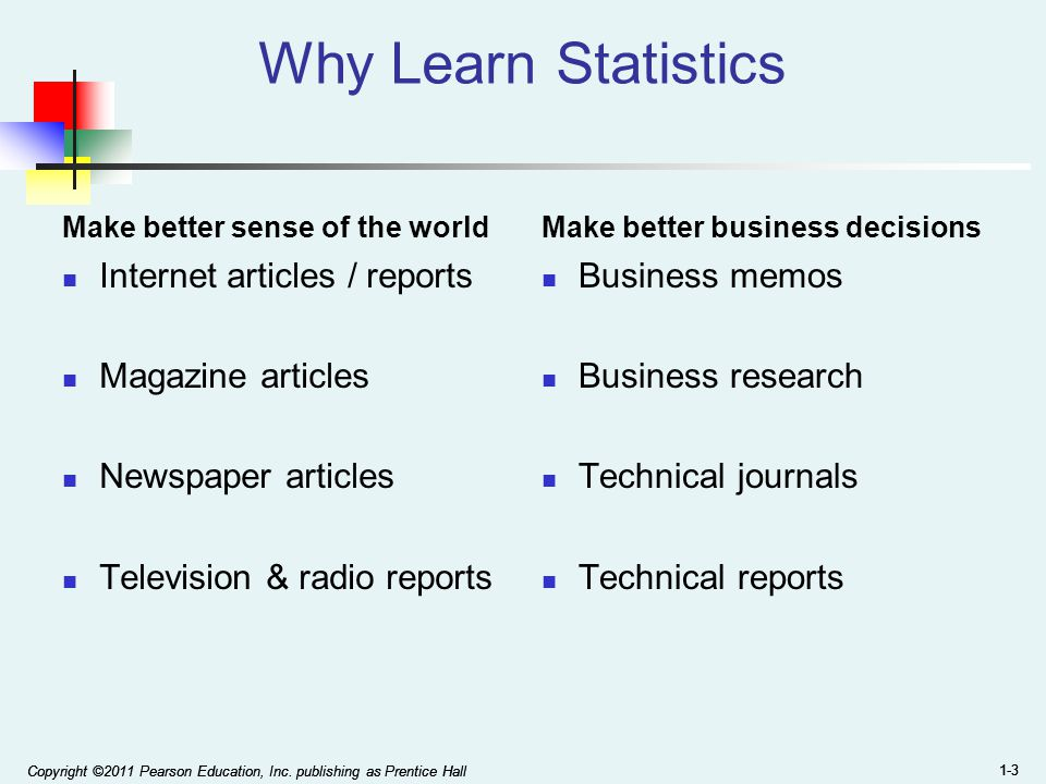 Why Learn Statistics Internet articles / reports Magazine articles