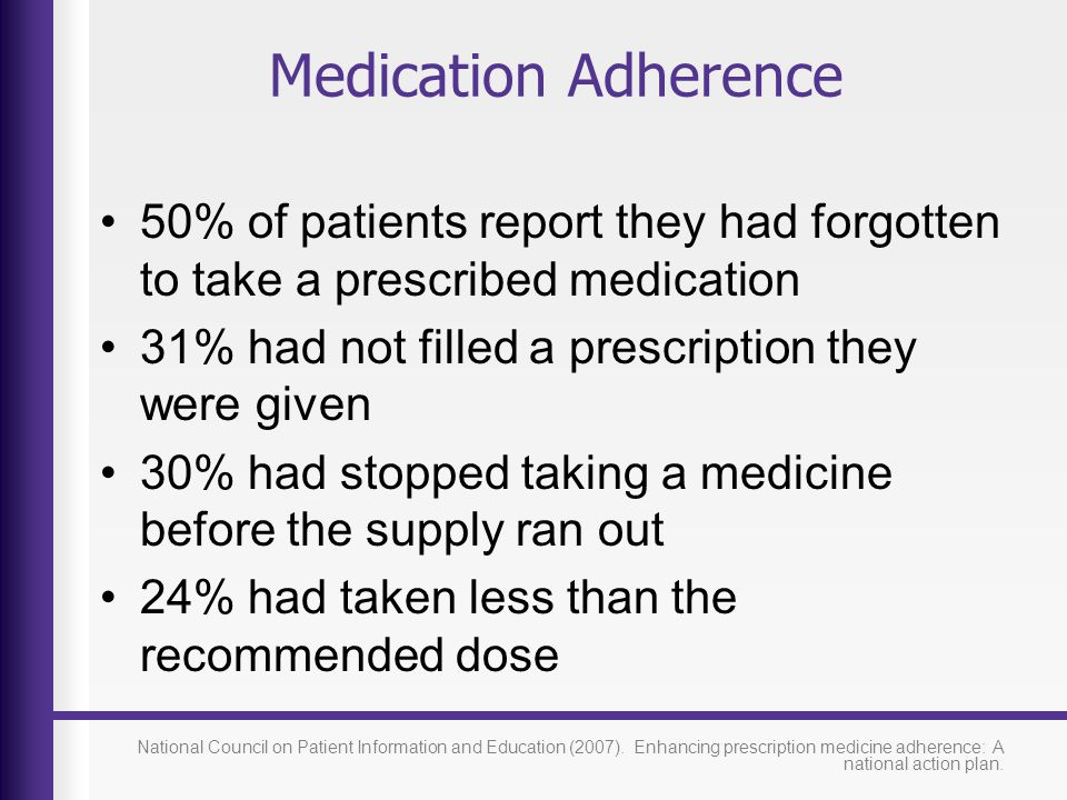Medication Adherence 50% of patients report they had forgotten to take a prescribed medication. 31% had not filled a prescription they were given.