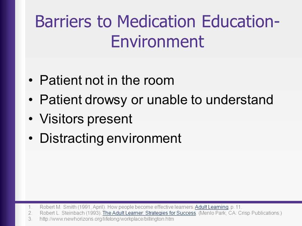 Barriers to Medication Education- Environment