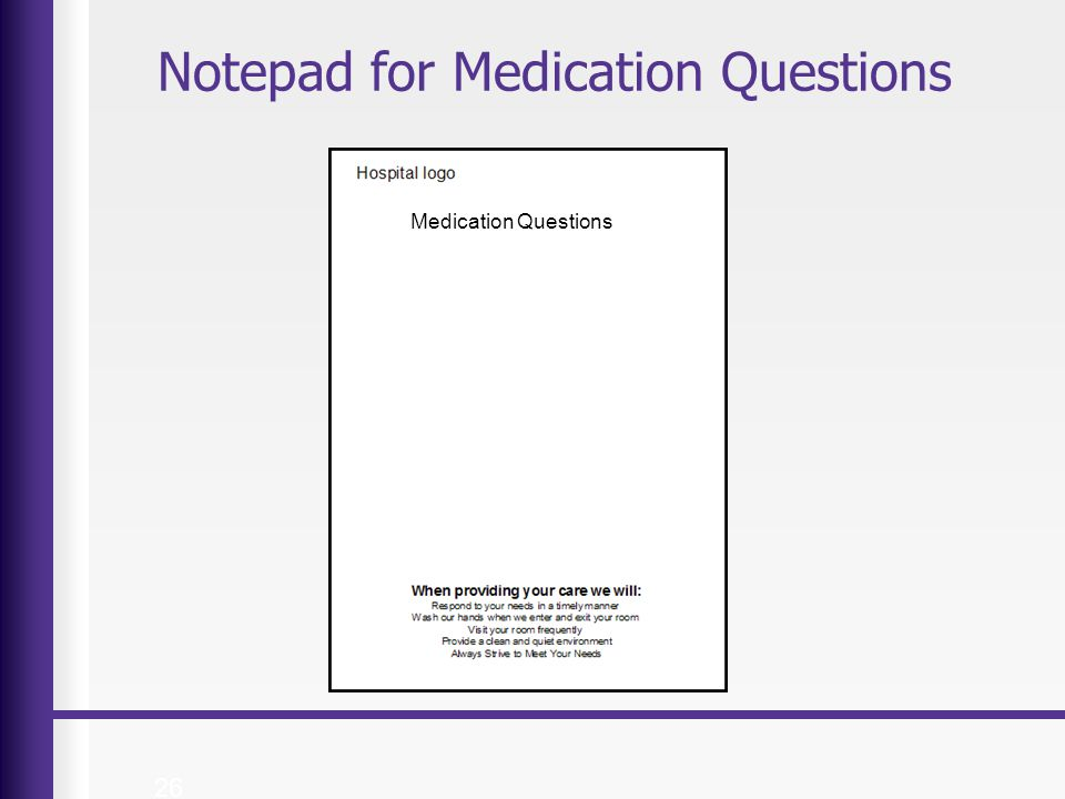Notepad for Medication Questions