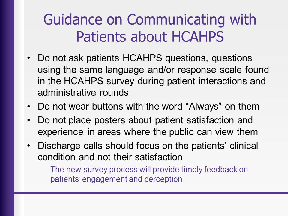 Guidance on Communicating with Patients about HCAHPS
