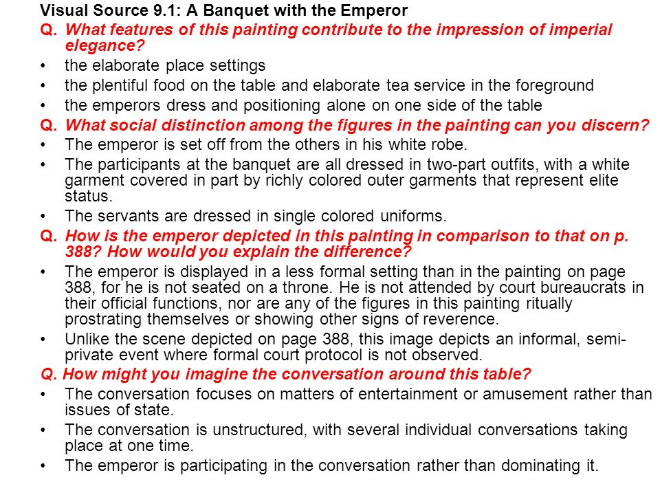 Visual Source 9.1: A Banquet with the Emperor
